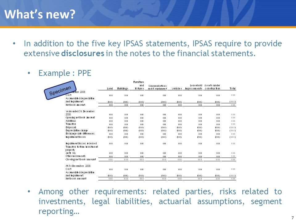 What's new In addition to the five key IPSAS statements, IPSAS require to provide extensive disclosures in the notes to the financial statements.