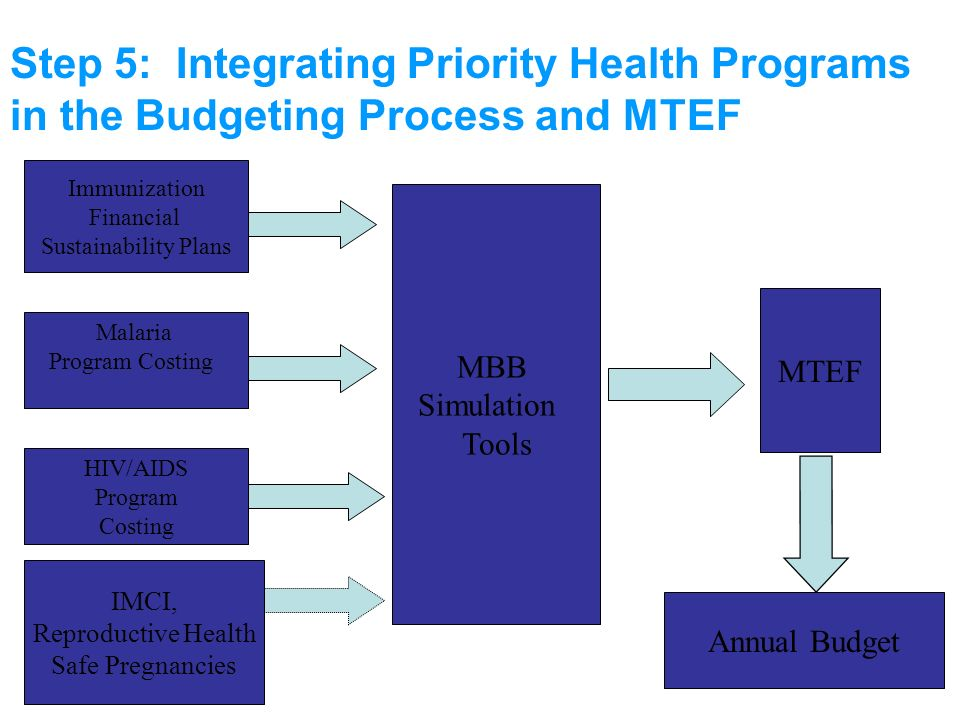 Step 5: Integrating Priority Health Programs in the Budgeting Process and MTEF