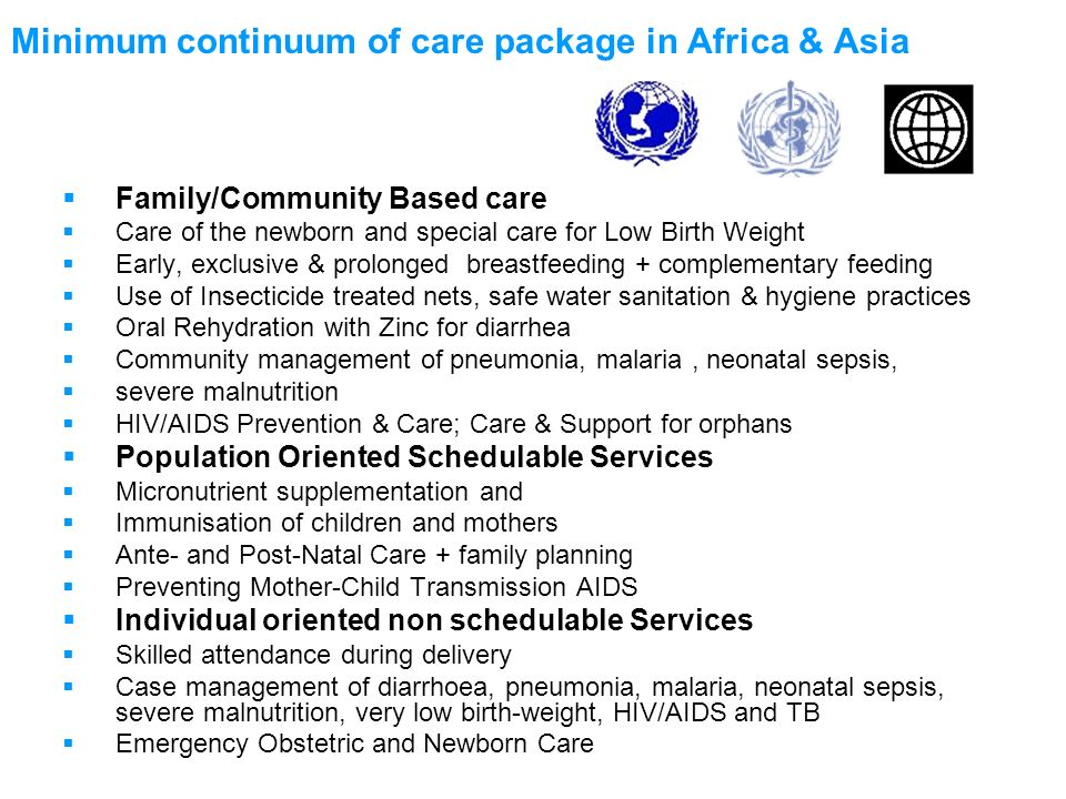 Minimum continuum of care package in Africa & Asia