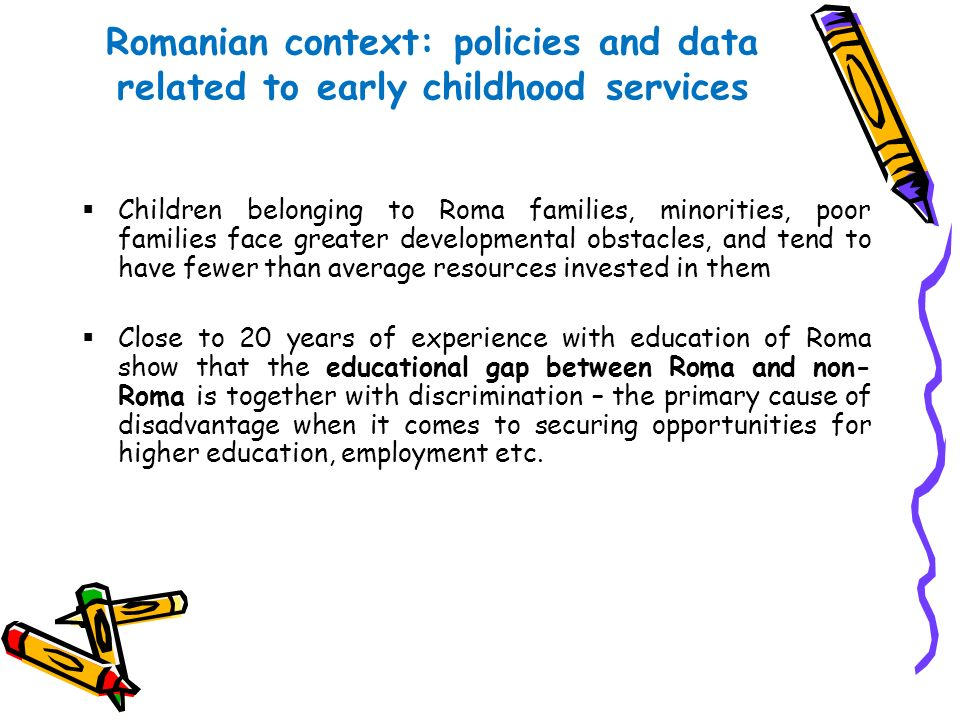 Romanian context: policies and data related to early childhood services