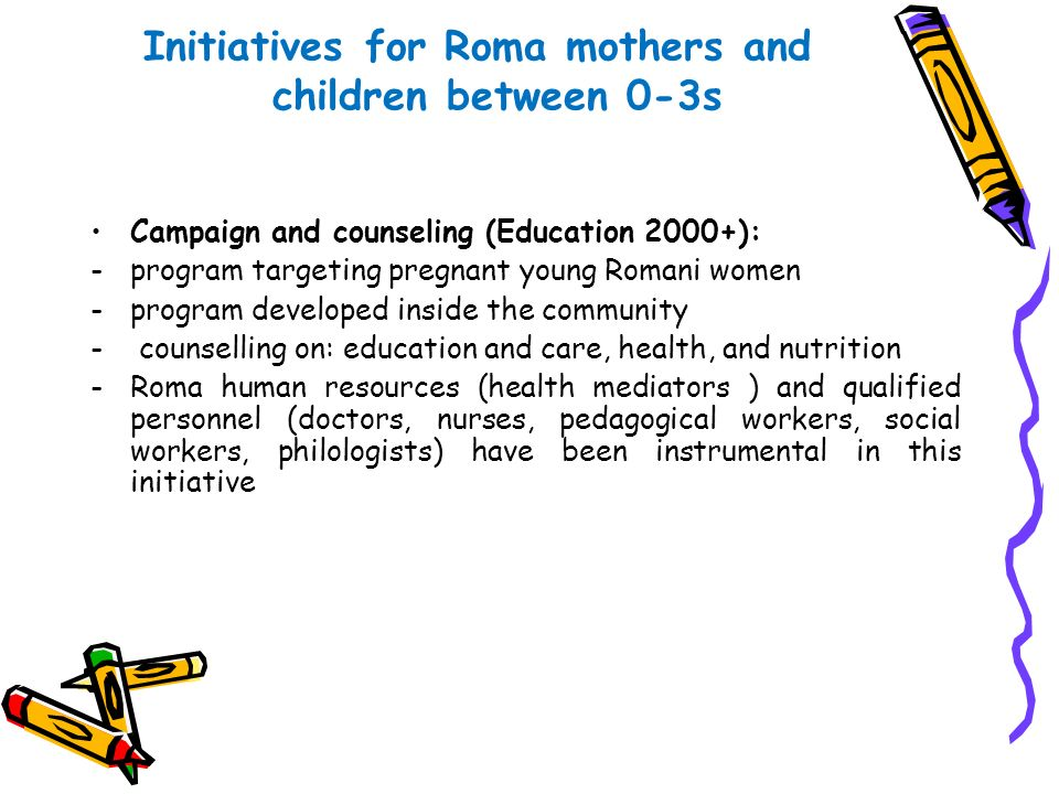 Initiatives for Roma mothers and children between 0-3s