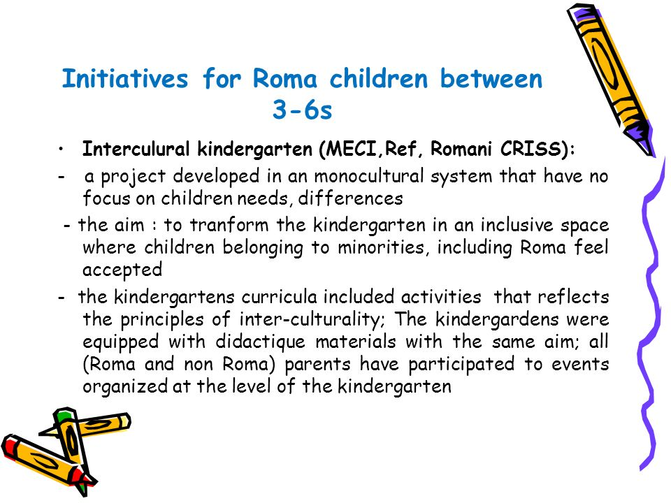 Initiatives for Roma children between 3-6s