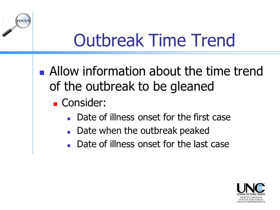 Outbreak Time Trend Allow information about the time trend of the outbreak to be gleaned. Consider: