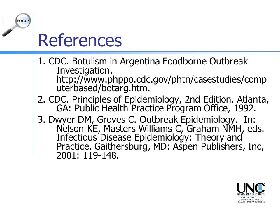 References 1. CDC. Botulism in Argentina Foodborne Outbreak Investigation. http://www.phppo.cdc.gov/phtn/casestudies/computerbased/botarg.htm.