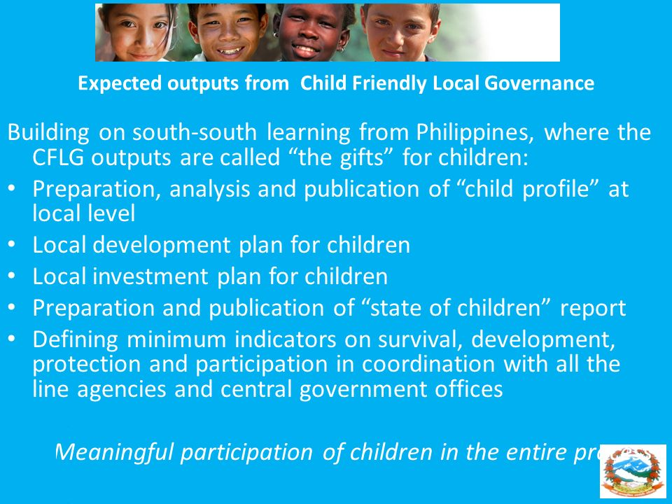Expected outputs from Child Friendly Local Governance