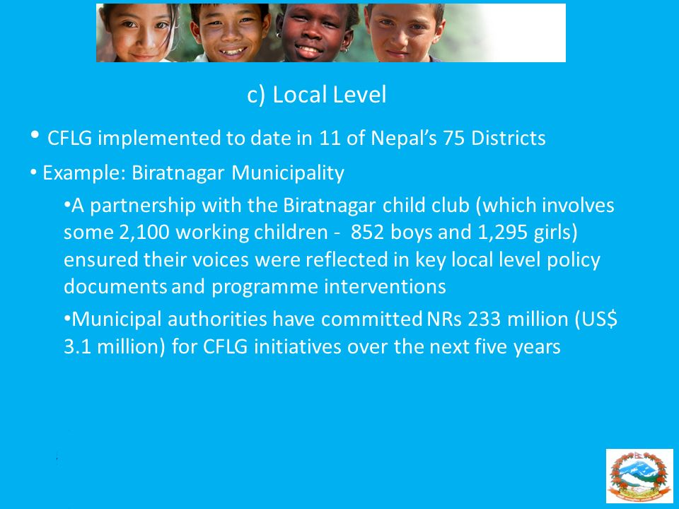 CFLG implemented to date in 11 of Nepal's 75 Districts