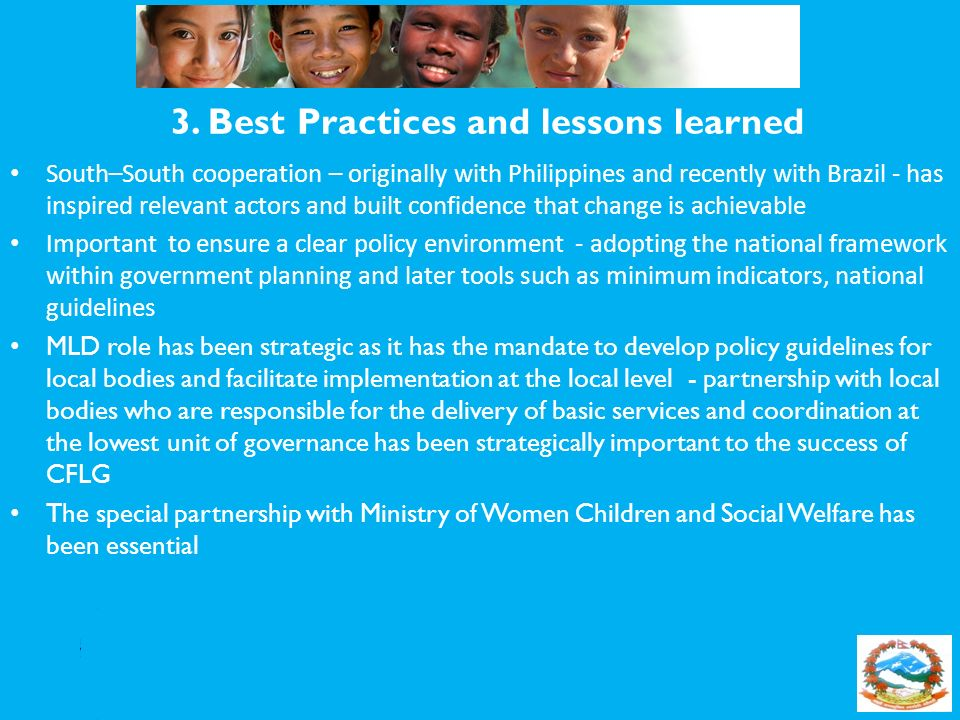 3. Best Practices and lessons learned