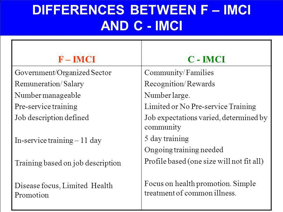DIFFERENCES BETWEEN F – IMCI AND C - IMCI