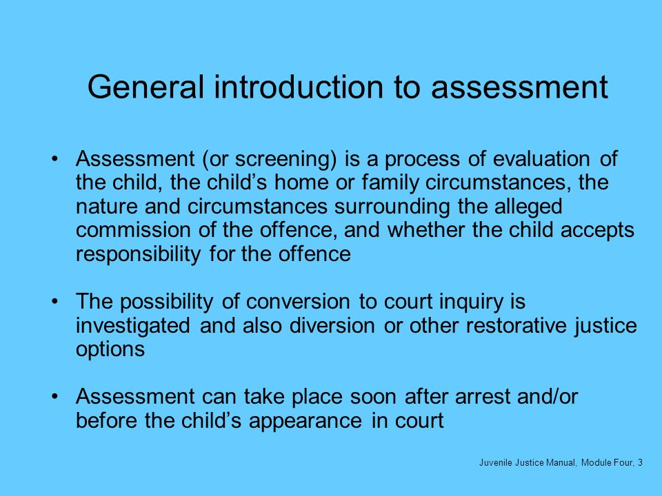 General introduction to assessment