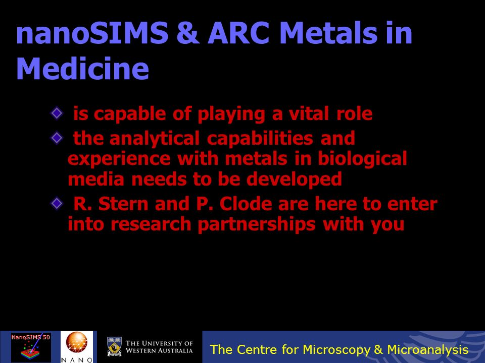 nanoSIMS & ARC Metals in Medicine