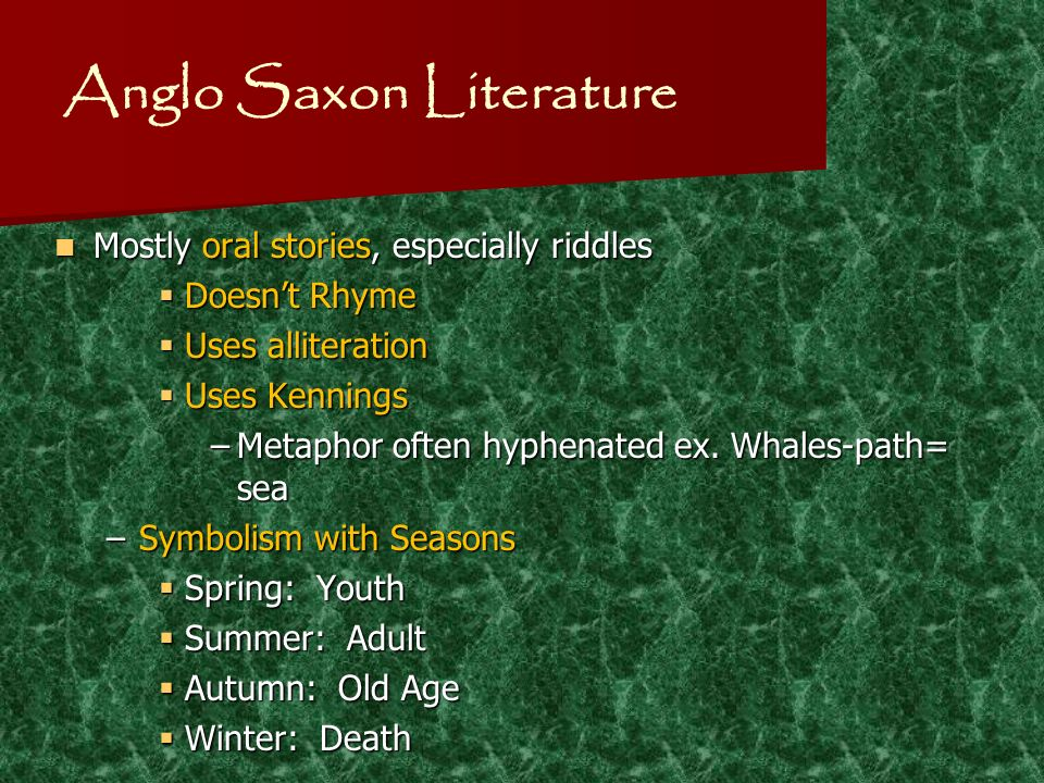 examining characteristic of anglo saxon literature english literature essay More is being written about women in old english (oe) but whether or not we  might  more consistently than in literary and linguistic studies in oe, historians  have  collection of essays on medieval women and history, edited by susan   feminist historians need to examine the public/private dichotomy itself: what  makes.