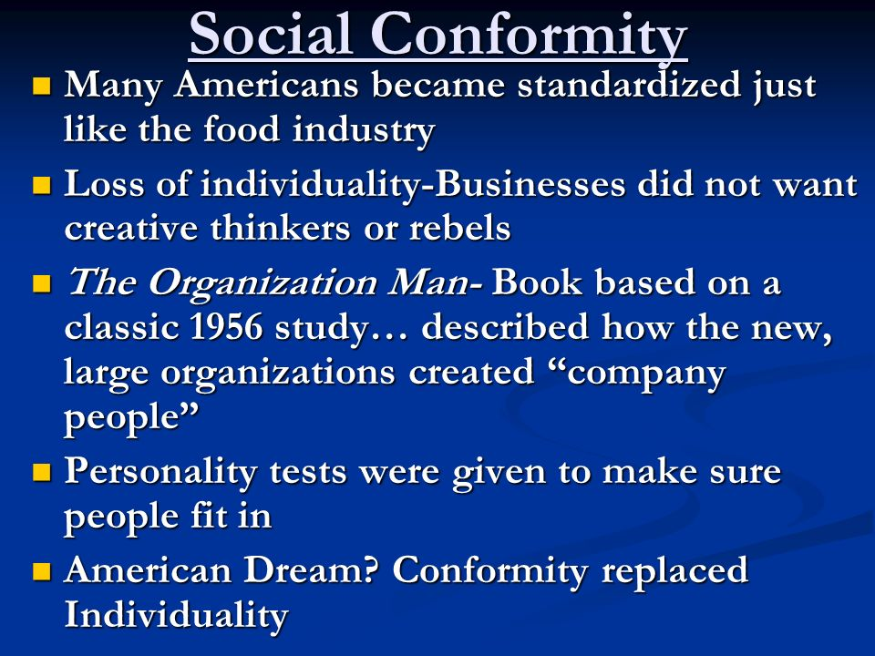 social conformity and individuality in school Social conformity definition: normative vs informational  when we complete all of our homework and school assignments, we get good grades  social nonconformity: definition & examples.