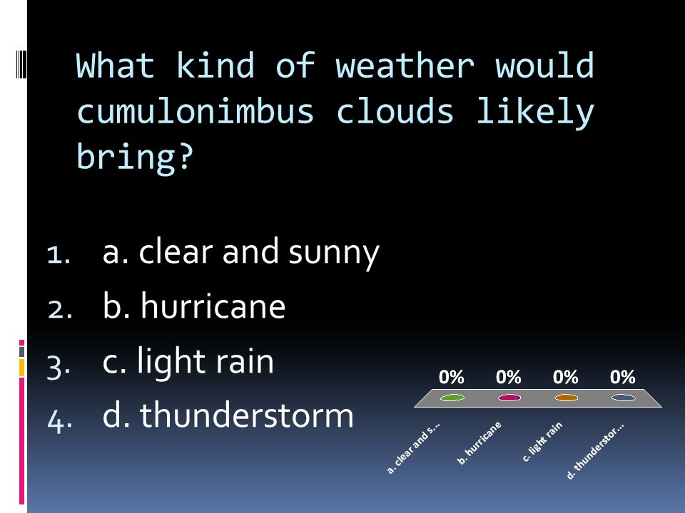 What kind of weather would cumulonimbus clouds likely bring