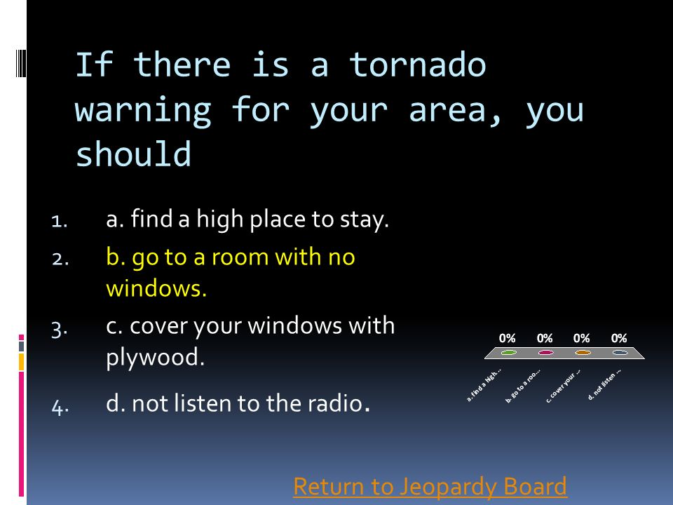 If there is a tornado warning for your area, you should