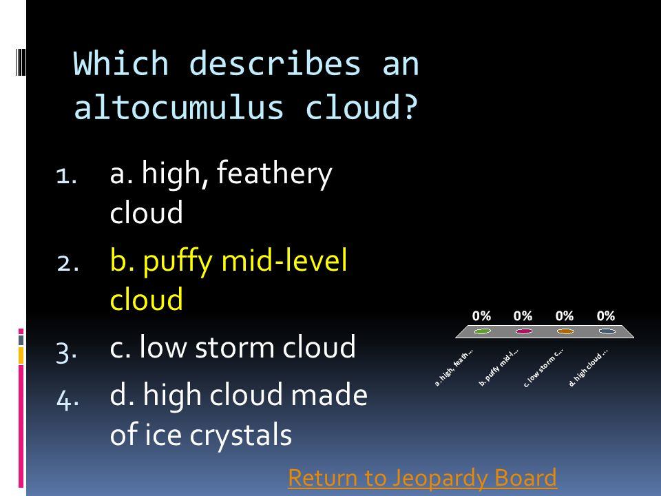 Which describes an altocumulus cloud