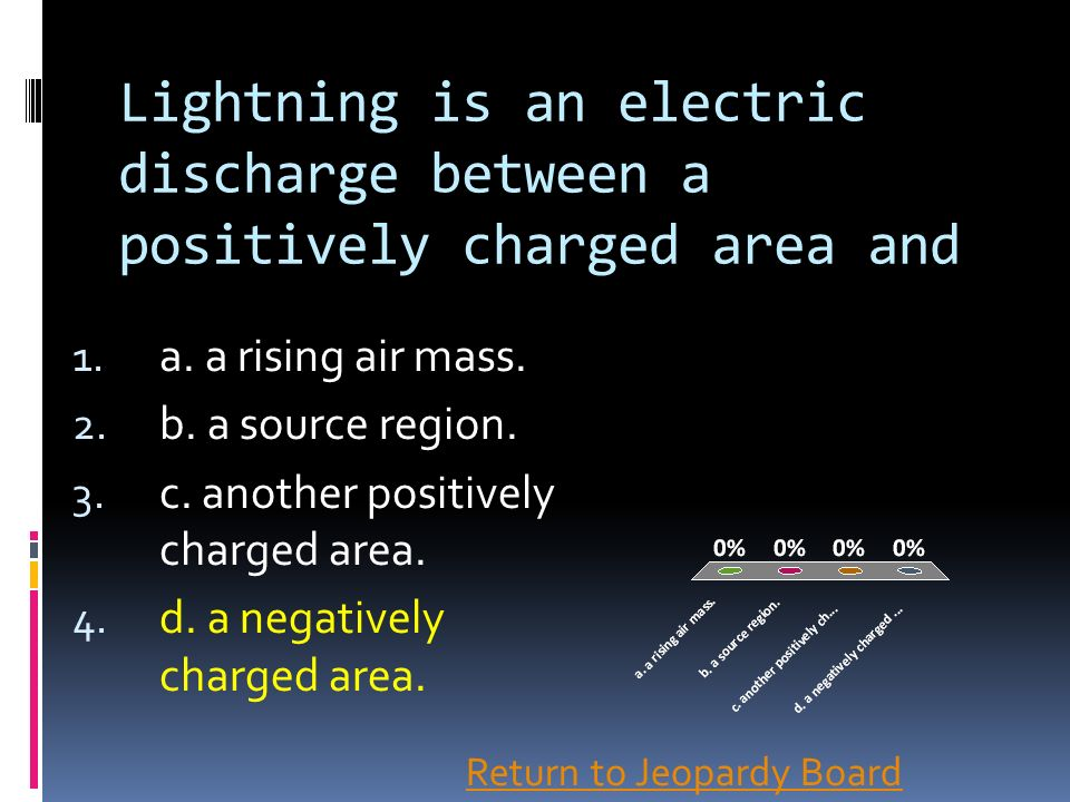 Lightning is an electric discharge between a positively charged area and