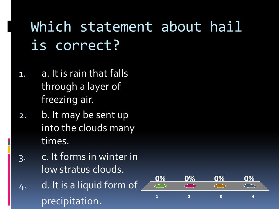 Which statement about hail is correct