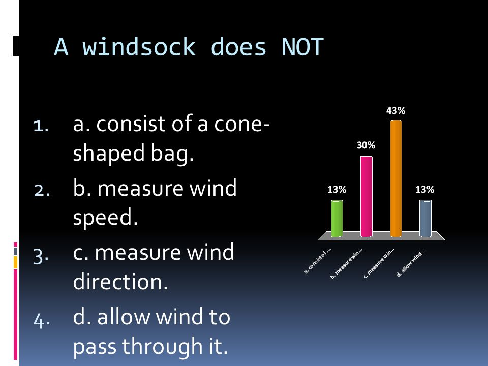 A windsock does NOT a. consist of a cone-shaped bag.