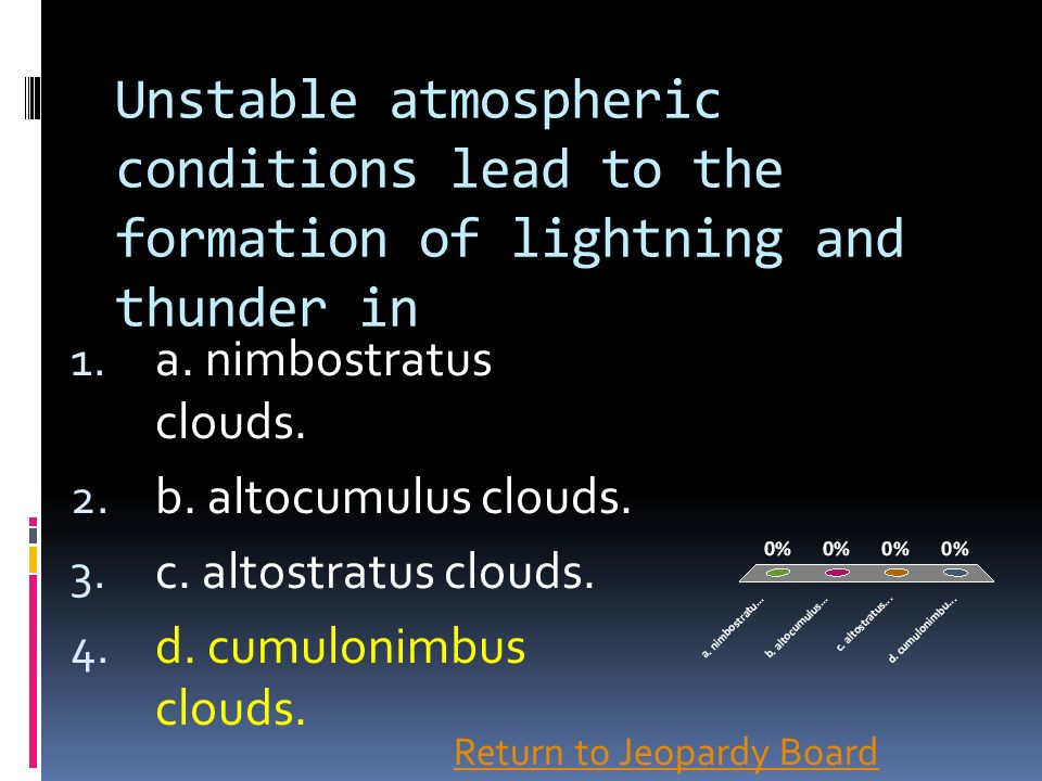 Unstable atmospheric conditions lead to the formation of lightning and thunder in