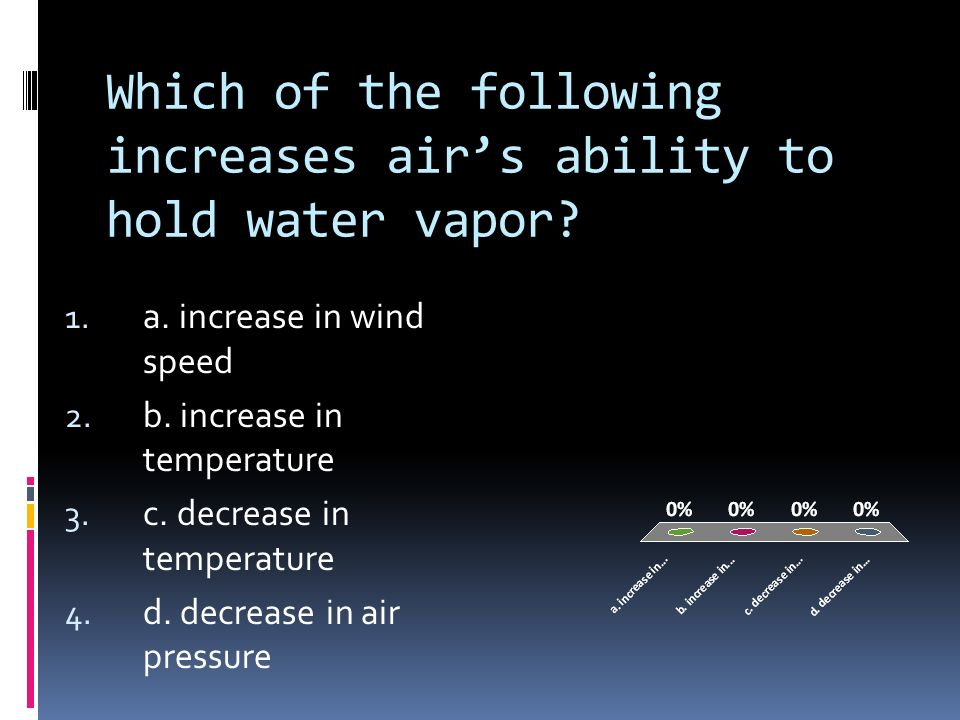 Which of the following increases air's ability to hold water vapor