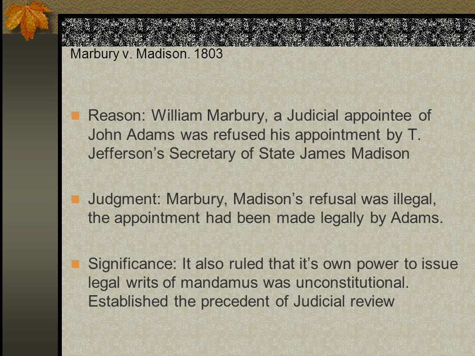 marbury v madison 2 By newsweek staff on 2/20/09 at 7:00 pm  24, is the 206th anniversary of  marbury v  the story of marbury contains important lessons first.