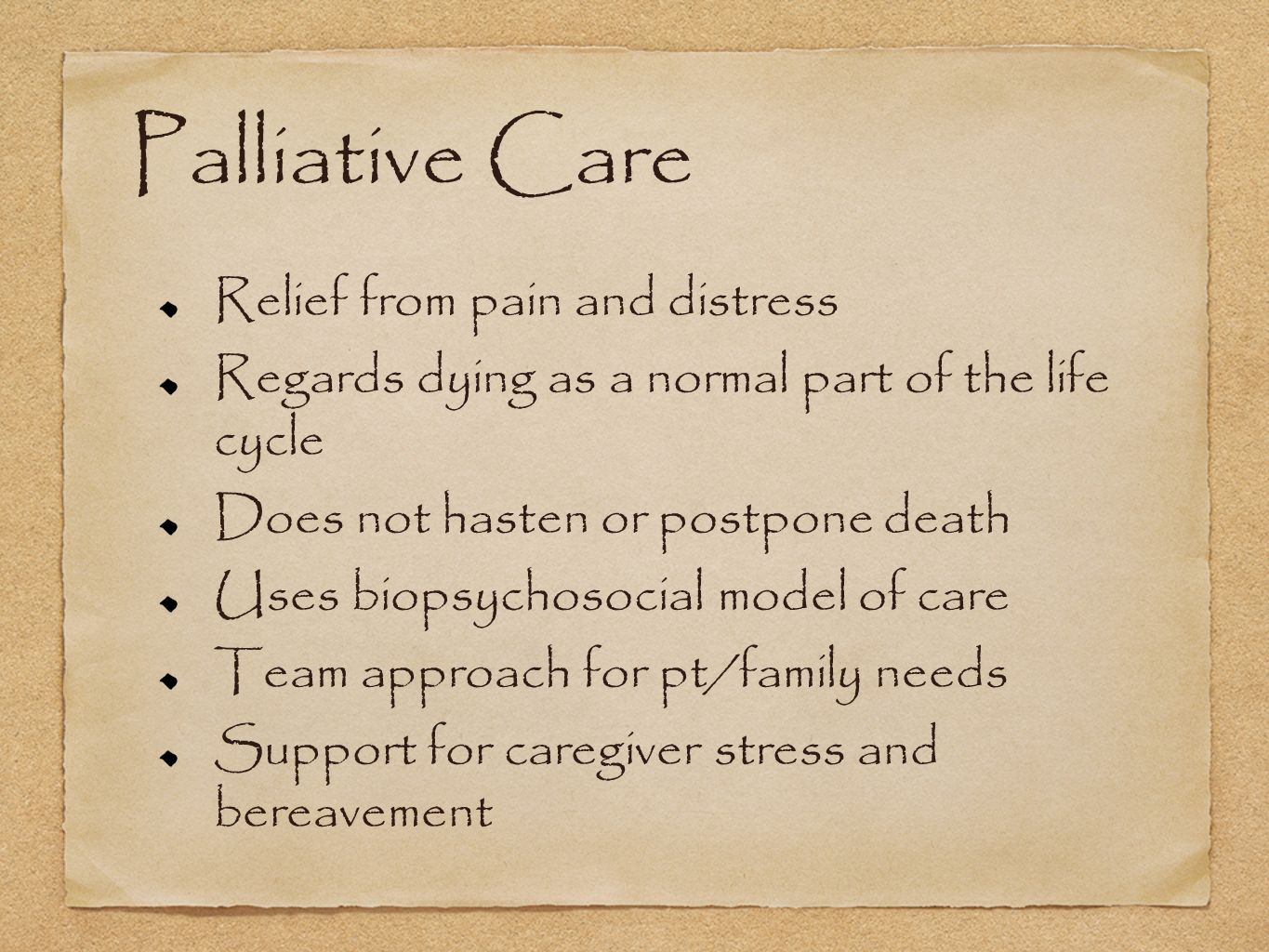 Palliative Care Relief From Pain And Distress