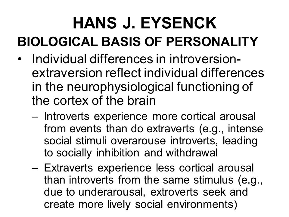 hans eysencks trait theory of personality analysis Cattell's trait theory, hans j eysenck's trait theory along with the analysis of the strengths and limitations of trait/ dispositional personality theories.