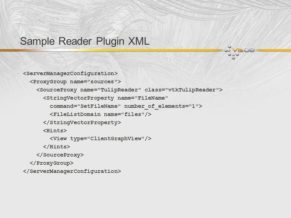 Sample Reader Plugin XML