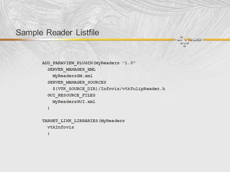 Sample Reader Listfile