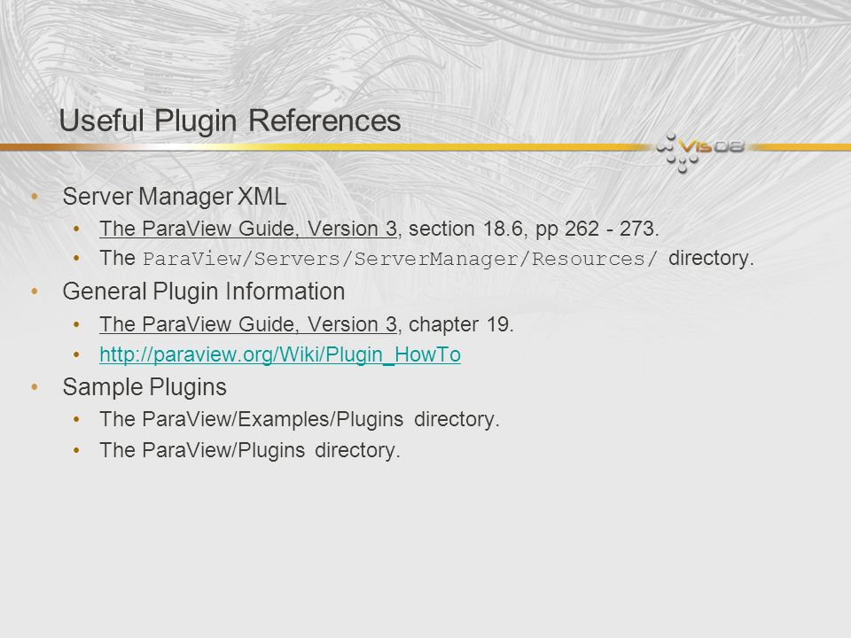 Useful Plugin References