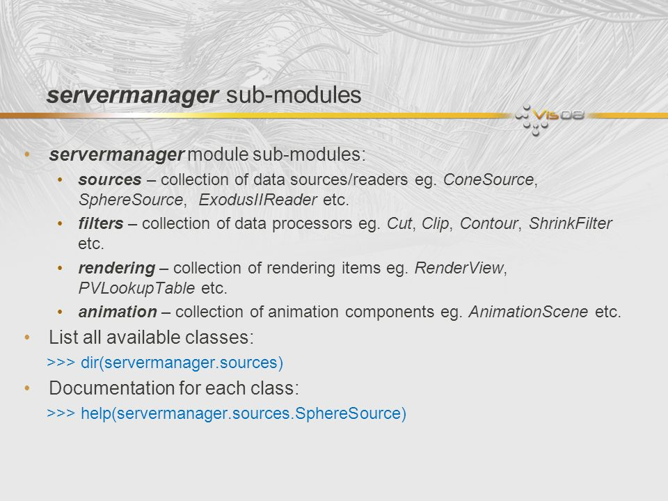 servermanager sub-modules