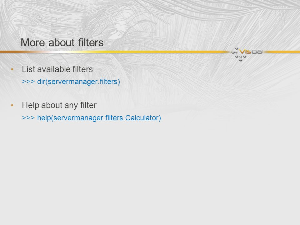 More about filters List available filters