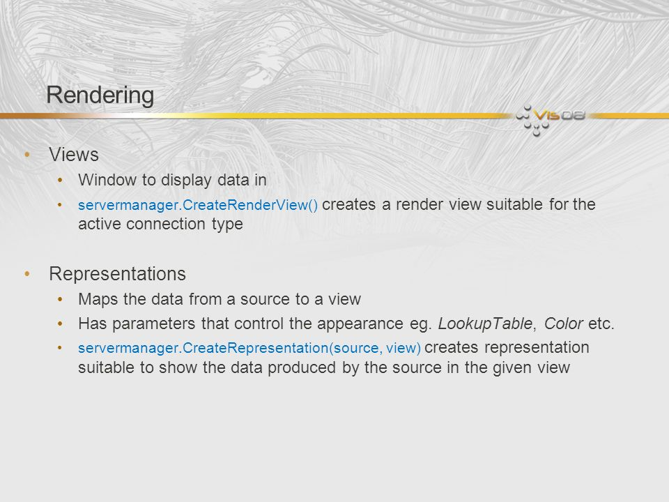 Rendering Views Representations Window to display data in