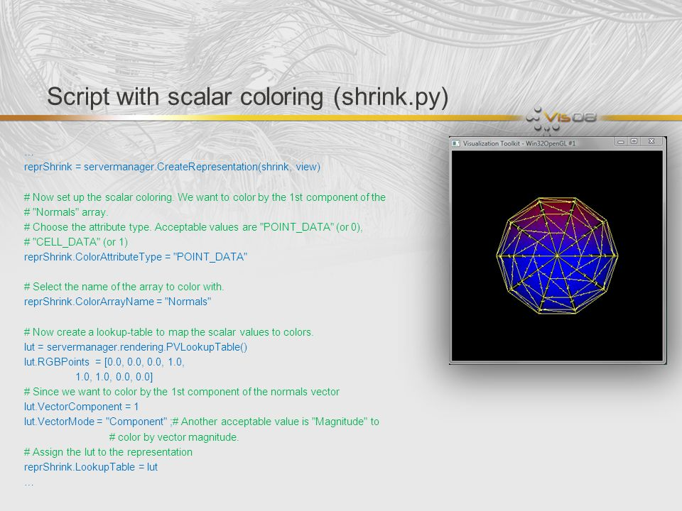Script with scalar coloring (shrink.py)