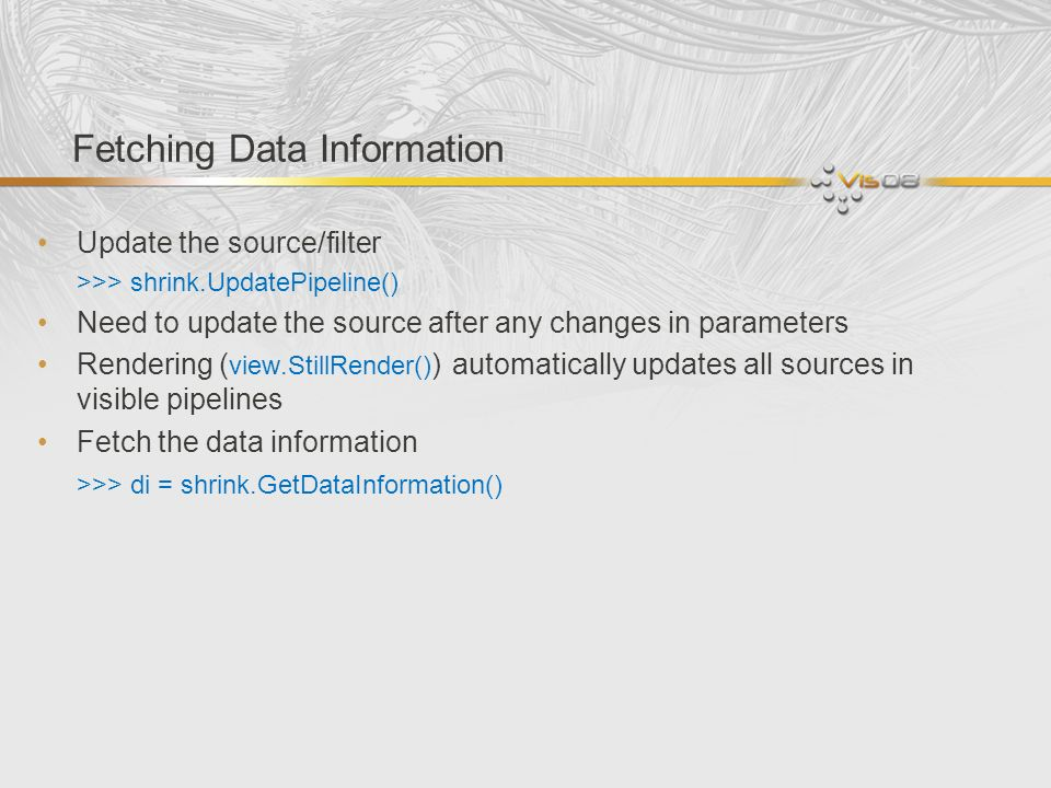 Fetching Data Information