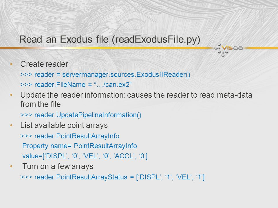 Read an Exodus file (readExodusFile.py)