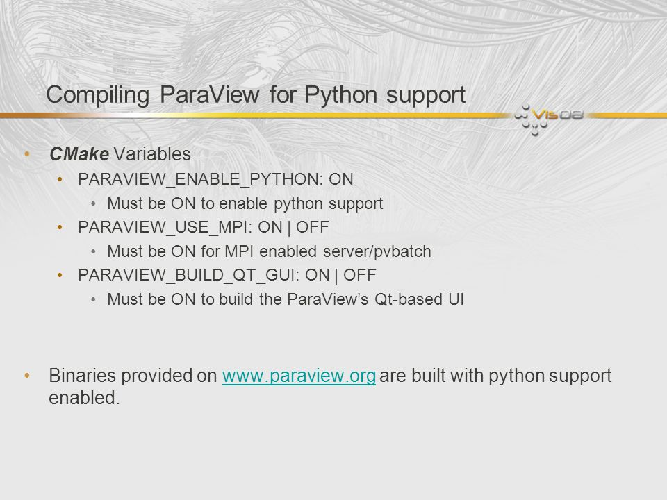 Compiling ParaView for Python support