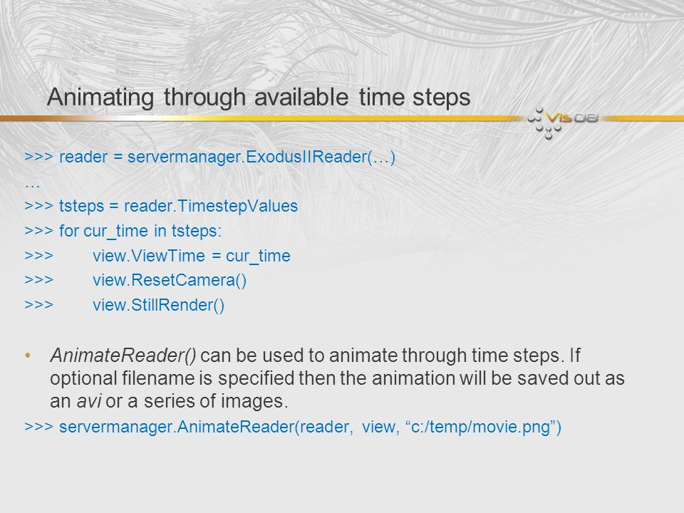 Animating through available time steps