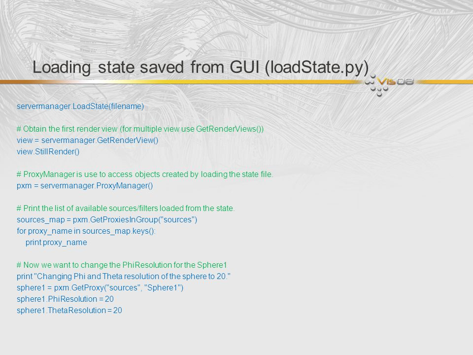 Loading state saved from GUI (loadState.py)