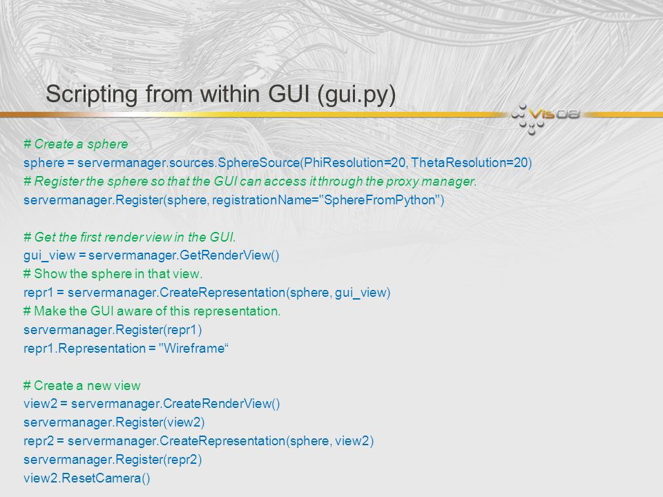 Scripting from within GUI (gui.py)
