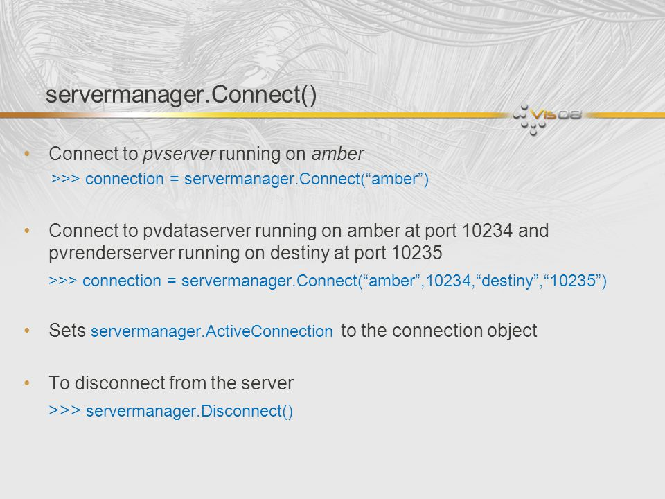 servermanager.Connect()