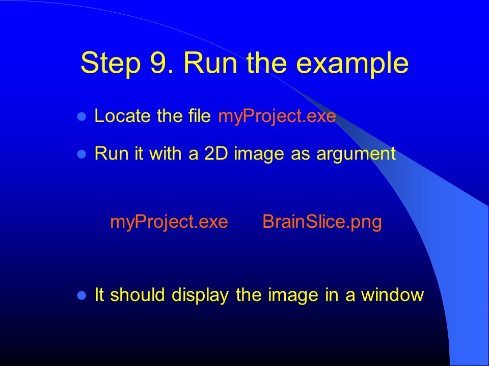 Step 9. Run the example Locate the file myProject.exe