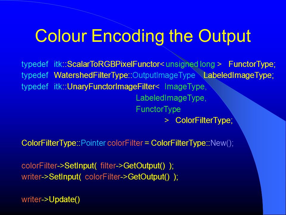 Colour Encoding the Output
