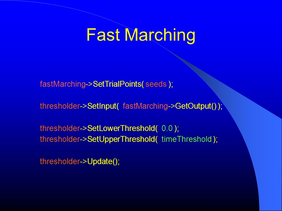 Fast Marching fastMarching->SetTrialPoints( seeds );