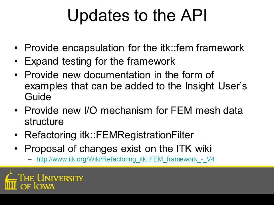 Updates to the API Provide encapsulation for the itk::fem framework