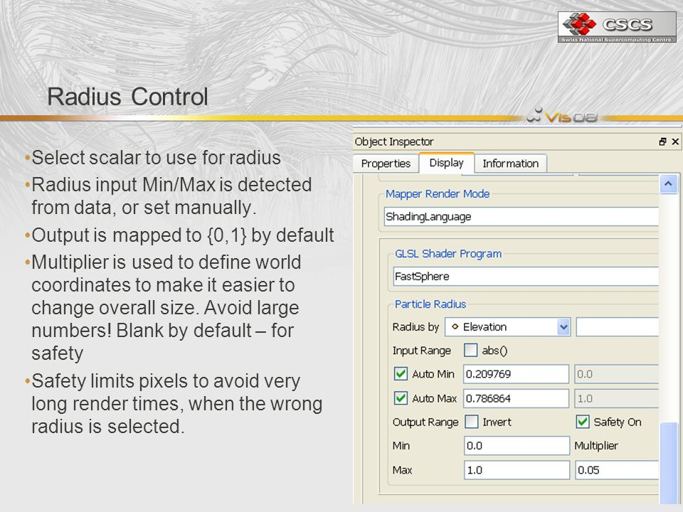 Radius Control Select scalar to use for radius