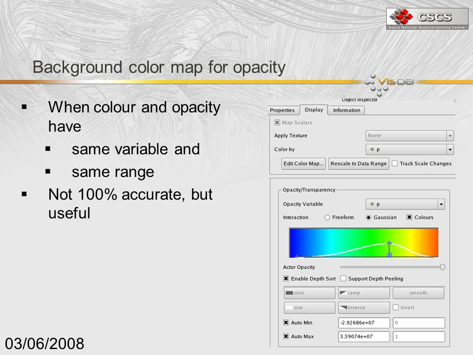 Background color map for opacity