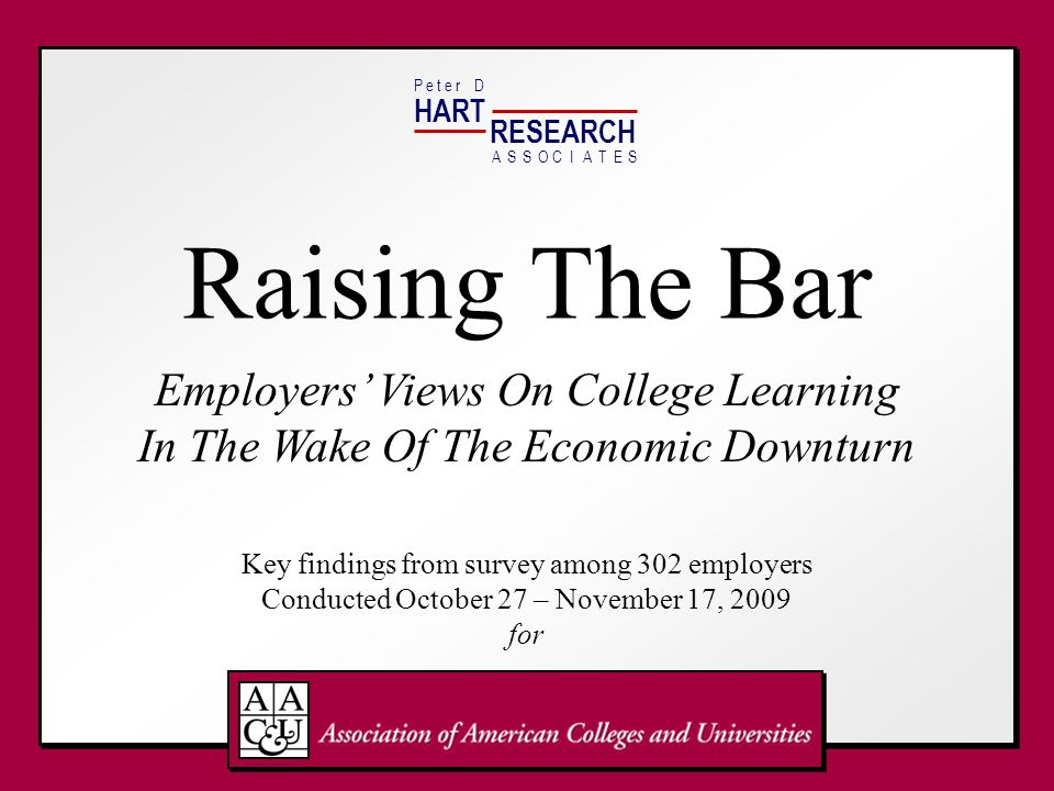 HART RESEARCH. P e t e r D. A. S. O. T. E. C. I. Raising The Bar.