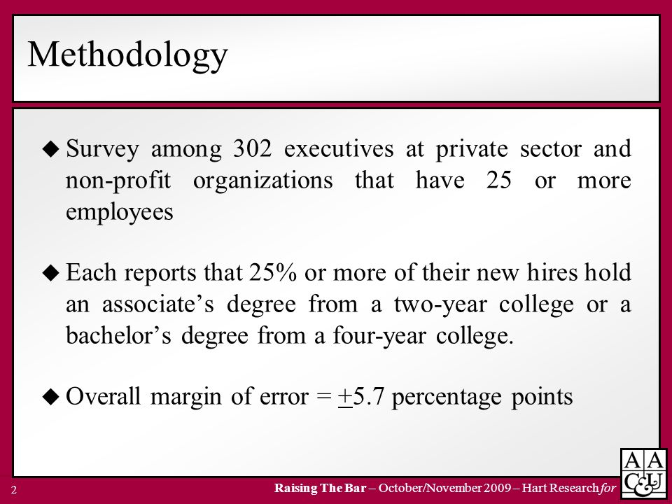 Methodology Survey among 302 executives at private sector and non-profit organizations that have 25 or more employees.