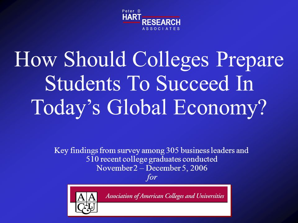 HART RESEARCH. P e t e r D. A. S. O. T. E. C. I. How Should Colleges Prepare Students To Succeed In Today's Global Economy
